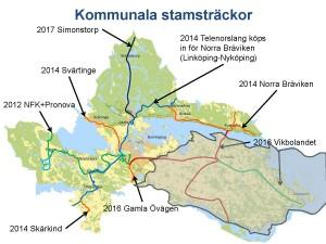 karta över kommunala stamsträckor