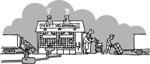 Illustration av restaurang och miljöarbetare som hanterar verksamhetsspecifikt avfall