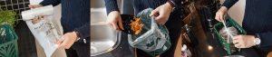tre foton som beskriver hur man tar hand om matavfall i sitt hushåll