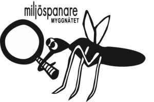 """illustration av mygga med förstoringsglas med texten """"miljöspanare myggnätet"""""""