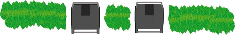 Skiss där två soptunnor står i varsitt hål i en trädgårdshäck