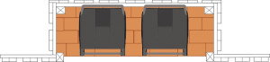 illustration av soptunnor intill staket sett ovanifrån