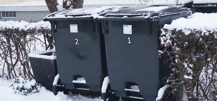Två snöiga soptunnor vid en villatomt