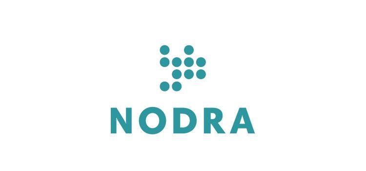Nodras logga, cirklar med ordet NODRA under