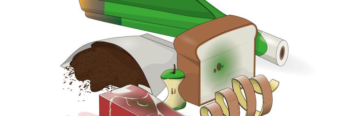 Tecknad bild på matavfall