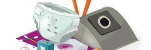 Tecknad bild på brännbara sopor, till exempel en blöja, en dammsugarpåse, en cd-skiva och tandtråd.