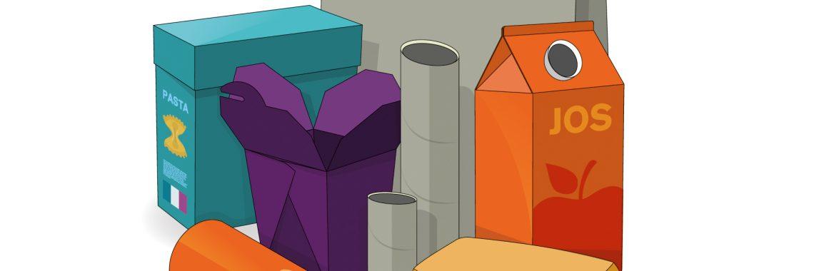 Tecknad bild på pappersförpackningar.