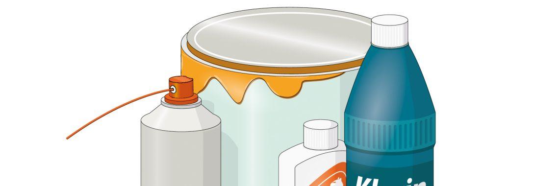 Tecknad bild på farligt avfall, till exempel färgburk, lösningsmedel och frätande rengöringsmedel.