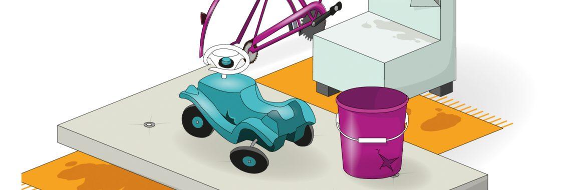 Tecknad bild på grovavfall, till exempel en plasthink, en madrass, en leksaksbil i plast och delar av en cykel.
