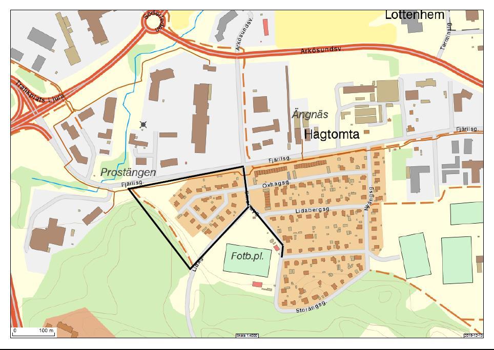 Karta över del av Smedby med markering för det område där Nodra och Samhällsbyggnadskontoret ska förbättra hanteringen av dagvatten.