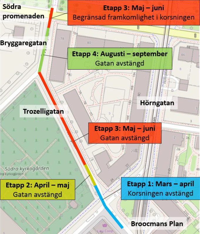 Bild på avstängningar och etapper
