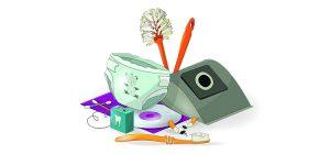 Tecknad bild på en diskborste, en tandborste, en blöja med mera.