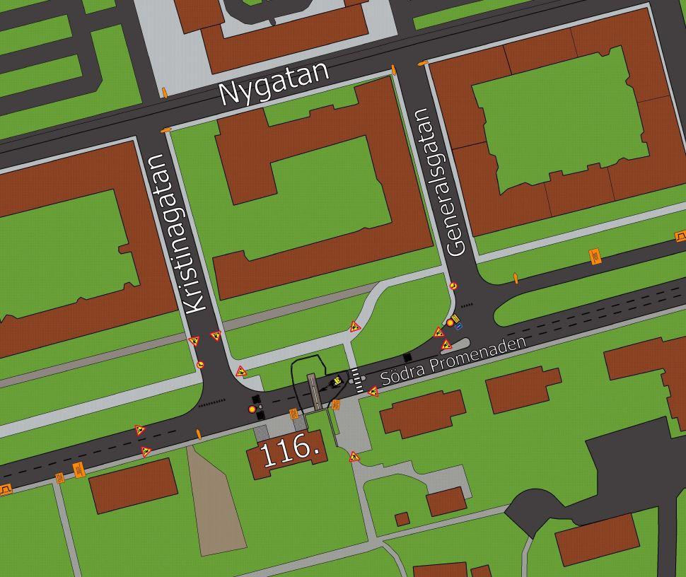 Karta som visar avstängning på Södra Promenaden mellan Kristinagatan och Generalsgatan mellan den 20 januari och 2 februari 2020