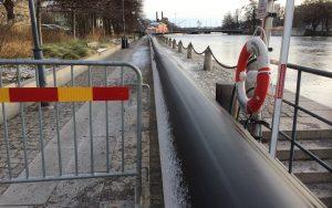 provisorisk ledning längs Strömmen vid Saltängsgatan