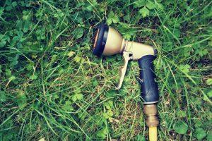 Munstycket till en trädgårdsslang som ligger ner i grönt gräs