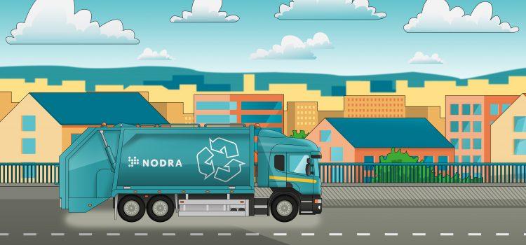 Illustrerad bild med en sopbil med Nodra-logga som kör på en väg med många hus i bakgrunden