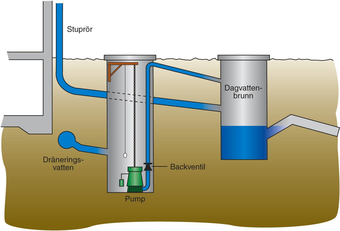Illustration som visar marken i genomskärning med stuprör som leds till en pump, vidare till en brunn och sedan till kommunala dagvattenledningen