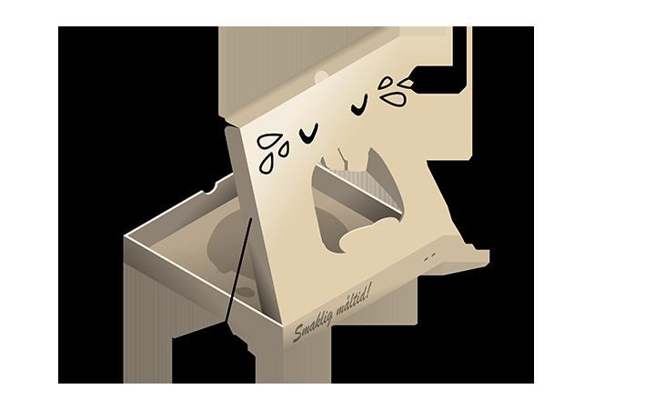 illustration av gråtande pizzakartong