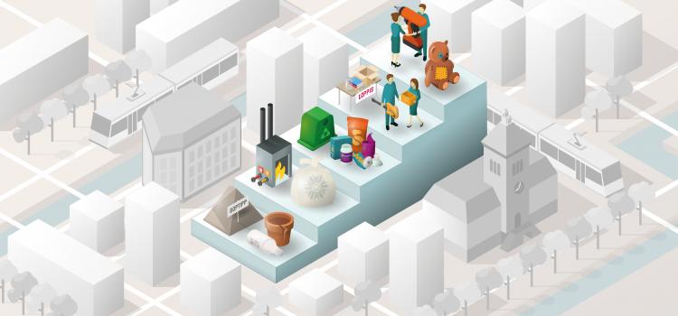 Illustration som visar en så kallad Avfallstrappa i stort format som står i Norrköpings-miljö.