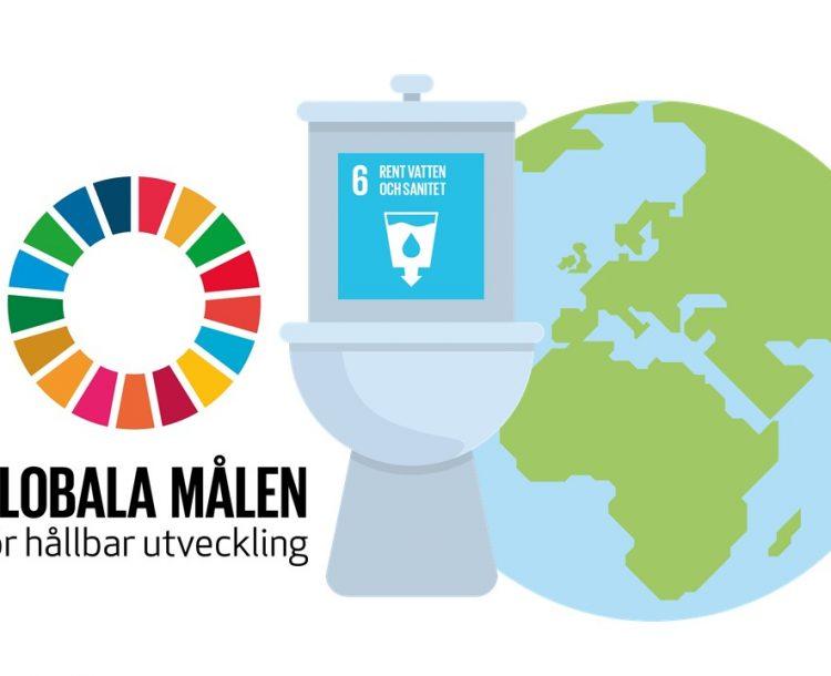 symbol för globala målen, toalett, mål 6 och jordglob