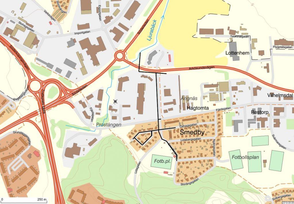Karta som visar var vi kommer att gräva i Smedby.