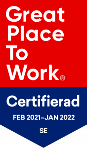 Logtyp för Great Place To Work med texten Certifierad feb 2021-jan 2022