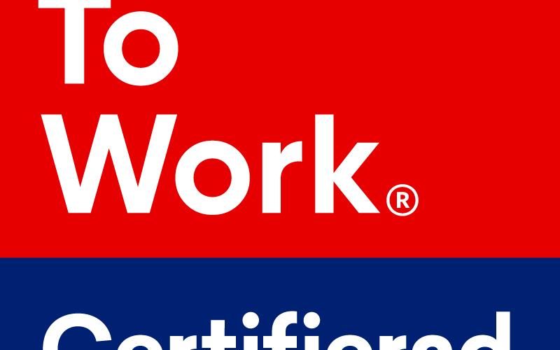 Logtyp för Great Place To Work med texten Certifierad feb 2021-jan 2022