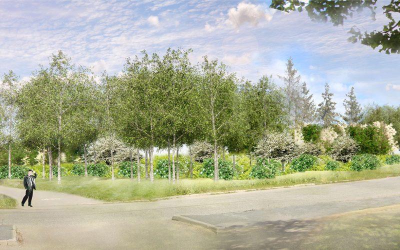 Illustration av en gatukorsning med mycket gröna träd och buskar