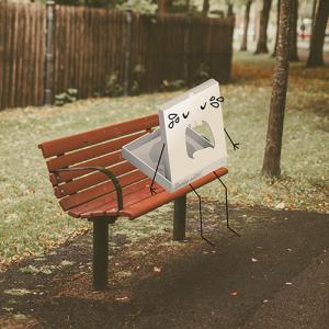 illustration av gråtande pizzakartong på parkbänk