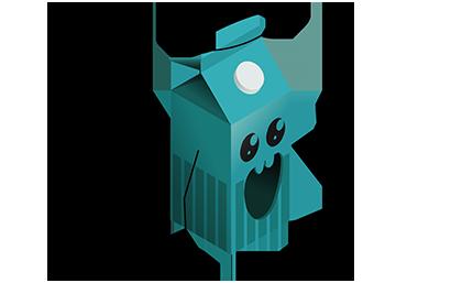 Illustration av glad mjölkkartong med gloria