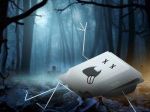 Tecknad bild på en död förpacknings som ligger på en kyrkogård