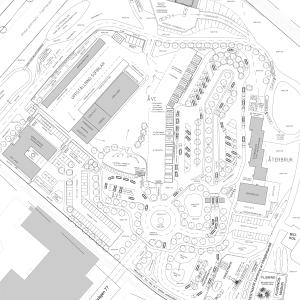 Skiss på dispositionen av anläggningen Nodra Park med bland annat en cirkulationsplats, en kontorsbyggnad, återbrukshus, parkering för sopbilar och omlastningsplats