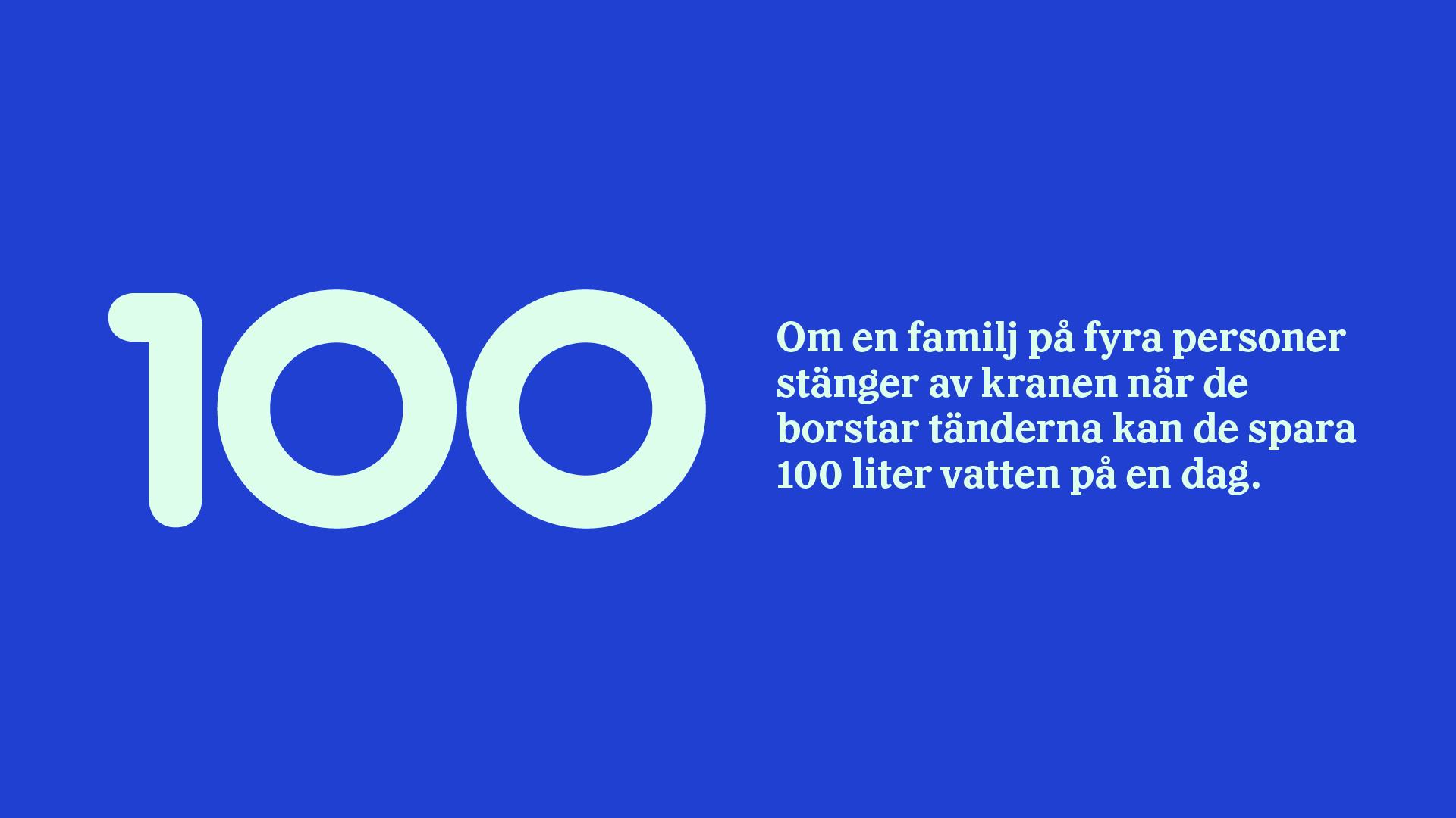 Grafik. På bilden står det: Om en familj på fyra personer stänger av kranen när de borstar tänderna kan de spara 100 lite vatten på en dag.